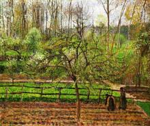 """Репродукция картины """"Spring, Gray Weather, Eragny"""" художника """"Писсарро Камиль"""""""