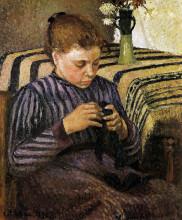 """Картина """"Young woman mending her stockings"""" художника """"Писсарро Камиль"""""""