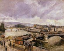 """Картина """"The Pont Boieldieu, Rouen, Rain Effect"""" художника """"Писсарро Камиль"""""""