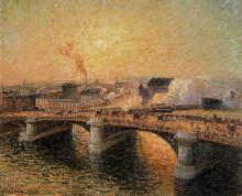 """Репродукция картины """"the pont boieldieu, rouen, sunset"""" художника """"писсарро камиль"""""""