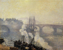 "Репродукция картины ""the pont corneille, rouen, morning mist"" художника ""писсарро камиль"""