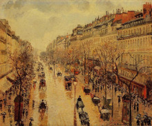 "Копия картины ""boulevard montmartre afternoon, in the rain"" художника ""писсарро камиль"""