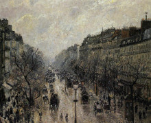 "Копия картины ""boulevard montmartre foggy morning"" художника ""писсарро камиль"""