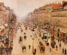 "Копия картины ""boulevard montmartre morning, grey weather"" художника ""писсарро камиль"""