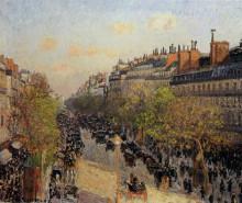 """Репродукция картины """"Boulevard Montmartre, Sunset"""" художника """"Писсарро Камиль"""""""