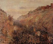 """Репродукция картины """"Mardi Gras, Sunset, Boulevard Montmartre"""" художника """"Писсарро Камиль"""""""