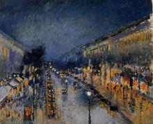 """Репродукция картины """"The Boulevard Montmartre at Night"""" художника """"Писсарро Камиль"""""""