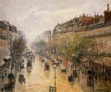 """Репродукция картины """"Boulevard Montmartre Spring Rain"""" художника """"Писсарро Камиль"""""""