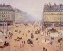 """Репродукция картины """"avenue de l'opera, place du thretre francais misty weather"""" художника """"писсарро камиль"""""""