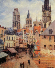"Картина ""rue de l'epicerie at rouen, on a grey morning"" художника ""писсарро камиль"""