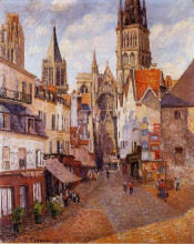 "Копия картины ""sunlight, afternoon, la rue de l'epicerie, rouen"" художника ""писсарро камиль"""