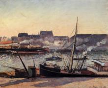 """Копия картины """"the docks, rouen, afternoon"""" художника """"писсарро камиль"""""""