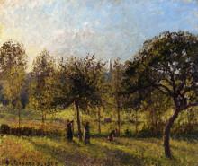 """Картина """"Setting Sun, Autumn in Eragny"""" художника """"Писсарро Камиль"""""""