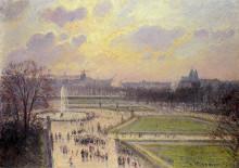 """Картина """"the bassin des tuileries, afternoon"""" художника """"писсарро камиль"""""""