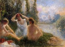 """Картина """"bathers seated on the banks of a river"""" художника """"писсарро камиль"""""""