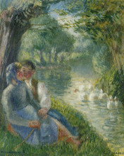 "Копия картины ""Lovers Seated at the Foot of a Willow Tree"" художника ""Писсарро Камиль"""