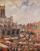 "Картина ""the market surrounding the church of saint-jacques, dieppe"" художника ""писсарро камиль"""