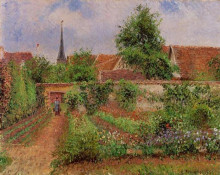 "Картина ""vegetable garden in eragny, overcast sky, morning"" художника ""писсарро камиль"""