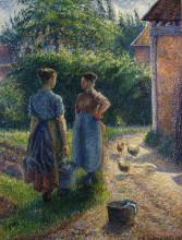 "Копия картины ""peasants chatting in the farmyard, eragny"" художника ""писсарро камиль"""