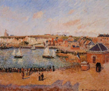 "Картина ""The Inner Harbor, Dieppe Afternoon, Sun, Low Tide"" художника ""Писсарро Камиль"""