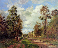 """Репродукция картины """"The Road to Louveciennes at the Outskirts of the Forest"""" художника """"Писсарро Камиль"""""""