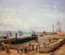 "Копия картины ""the jetty, le havre, high tide, morning sun"" художника ""писсарро камиль"""