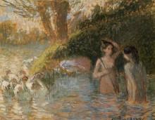 """Картина """"bathing goose maidens"""" художника """"писсарро камиль"""""""