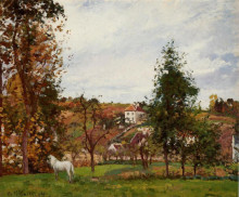"Репродукция картины ""landscape with a white horse in a meadow, l'hermitage"" художника ""писсарро камиль"""