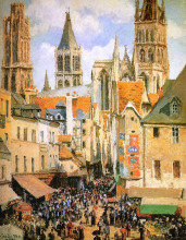"Картина ""the old market at rouen"" художника ""писсарро камиль"""