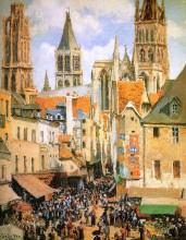 """Репродукция картины """"The old market at Rouen"""" художника """"Писсарро Камиль"""""""