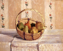 """Репродукция картины """"apples and pears in a round basket"""" художника """"писсарро камиль"""""""
