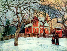 "Картина ""chestnut trees, louveciennes, winter"" художника ""писсарро камиль"""