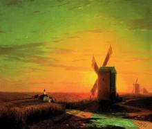 """Копия картины """"ветряные мельницы в украинской степи при закате солнца"""" художника """"айвазовский иван"""""""