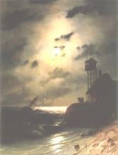"""Картина """"морской пейзаж с обломками корабля под лунным светом"""" художника """"айвазовский иван"""""""