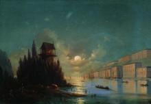 """Картина """"вид приморского города вечером с зажженным маяком"""" художника """"айвазовский иван"""""""