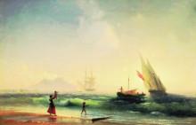 """Копия картины """"ожидание рыбаков на берегу неаполитанского залива"""" художника """"айвазовский иван"""""""