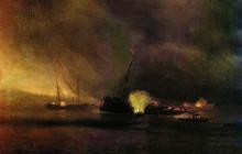 """Картина """"Взрыв трехмачтового парохода в Сулине 27 сентября 1877 года"""" художника """"Айвазовский Иван"""""""