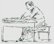 """Репродукция картины """"Автопортрет за письменным столом"""" художника """"Айвазовский Иван"""""""