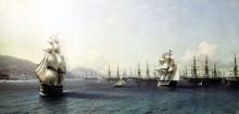 """Картина """"черноморский флот в феодосийской бухте, перед началом крымской войны"""" художника """"айвазовский иван"""""""