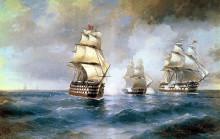 "Картина ""бриг ""меркурий"", атакованный двумя турецкими кораблями"" художника ""айвазовский иван"""