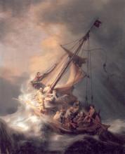 """Репродукция картины """"христос во время шторма на море галилейском"""" художника """"рембрандт"""""""