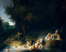 "Картина ""Diana Bathing, with the Stories of Actaeon and Callisto"" художника ""Рембрандт"""