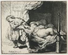 """Картина """"joseph and potiphar`s wife"""" художника """"рембрандт"""""""
