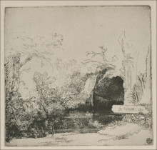 "Копия картины ""the boathouse called a grotto with a brook"" художника ""рембрандт"""
