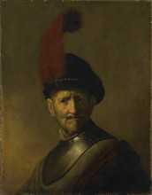 """Репродукция картины """"an old man in military costume (formerly called portrait of rembrandt's father)"""" художника """"рембрандт"""""""