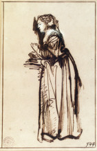 "Картина ""woman standing with raised hands"" художника ""рембрандт"""