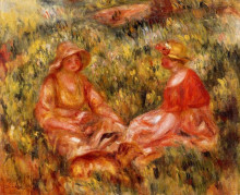 "Репродукция картины ""two women in the grass"" художника ""ренуар пьер огюст"""