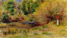 "Репродукция картины ""Woman Wearing a Hat in a Landscape"" художника ""Ренуар Пьер Огюст"""