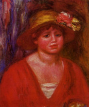 """Репродукция картины """"bust of a young woman in a red blouse"""" художника """"ренуар пьер огюст"""""""