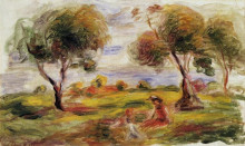 """Картина """"landscape with figures at cagnes"""" художника """"ренуар пьер огюст"""""""